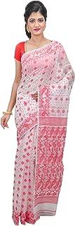 SareesofBengal Women's CottonSilk Handloom Jamdani Dhakai Saree Red And White