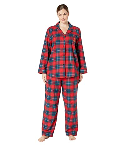 LAUREN Ralph Lauren Plus Size Brushed Twill Long Sleeve Notch Collar Long Pants Pajama Set (Red Plaid) Women