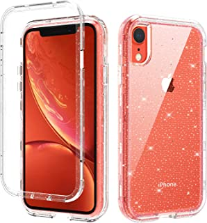 iPhone XR Case, GUAGUA Glitter Bling Clear Crystal Shiny Sparkly Cover for Girls Women Three Layer Hybrid Hard PC+Soft TPU+Bumper Shockproof Protective Phone Case for iPhone XR 6.1