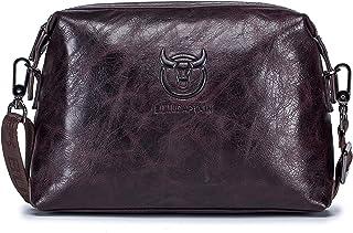 Decdeal Leather Messenger Bag Crossbody Shoulder Bag with Card Slots for Men Women Travel Work School College