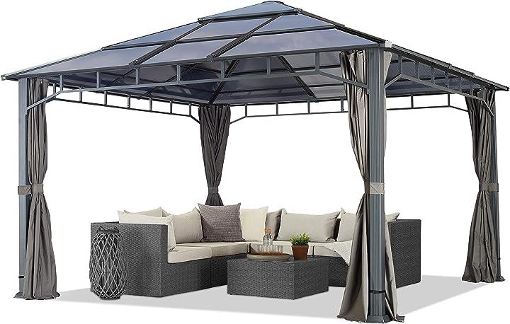 Gazebo da giardino 4x4 m telaio in alluminio tetto in policarbonato B08V1H4V9X