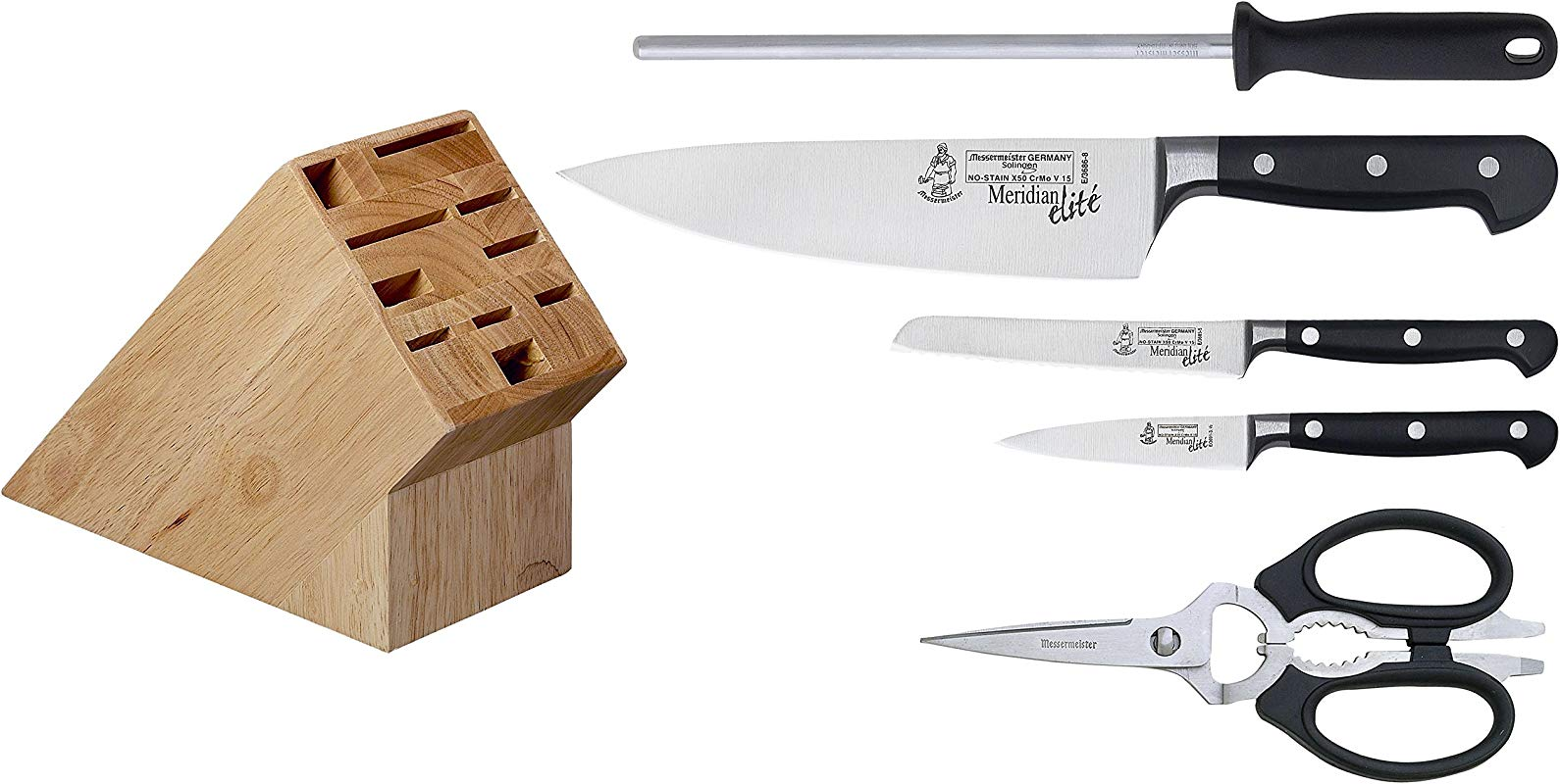 Messermeister Meridian Elite 6 Pc Initial Knife Block Set
