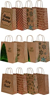Kraft Holiday Gift Bags, foil hot-Stamp Designs, 12 Large Bags in Assorted Christmas Prints (Multi-Colored)