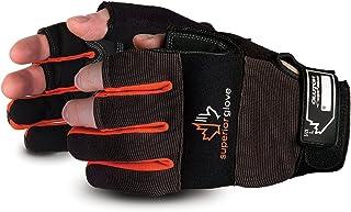 Superior Leather Open-Finger Framers Gloves - 1 Pair of Large Black and Orange Work Gloves - MXFE