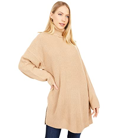 WAYF Culver Turtleneck Sweaterdress (Camel) Women