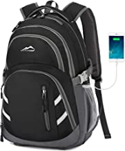 Backpack Bookbag for School College Student Business Travel with USB Charging Port Fit Laptop Up to 15.6 Inch Black Black Medium