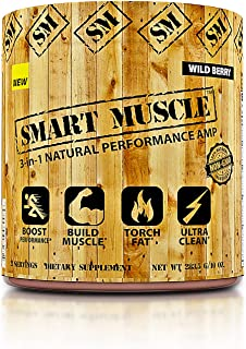 Smart Muscle 3-in-1 Natural Performance AMP - Ultra Clean Total Muscle Defining Preworkout Experience with Fat Shredding M...