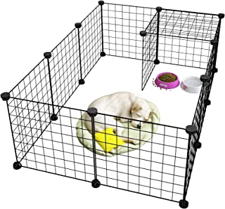 LANGRIA Pet Playpen, DIY Small Animal Cage for Guinea Pigs, Puppy | Pet Products Portable Metal Wire Yard Fence (Black)