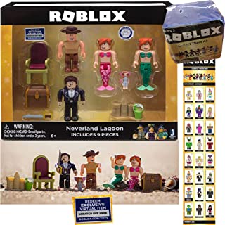 by The Sea Roblox Video Game Characters Buck-Eye Pirate Neverland Lagoon 4 Action Figures Mermaid Exclusive Virtual Code Accessories & Blue Celebrity Series 2 Blind Box Mini Figure Bundle