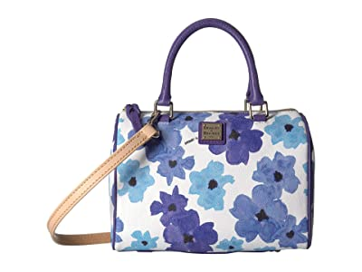 Dooney & Bourke Bloom Rowan Satchel (Blue/Amethyst Trim) Handbags