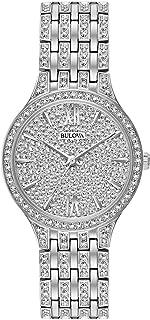 Bulova - de las mujeres Silvertone cristal Swarovski Pave reloj de pulsera