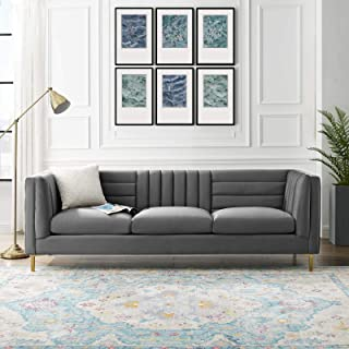 Modway Ingenuity Channel Tufted Performance Velvet Sofa with Gold Stainless Steel Legs in Gray