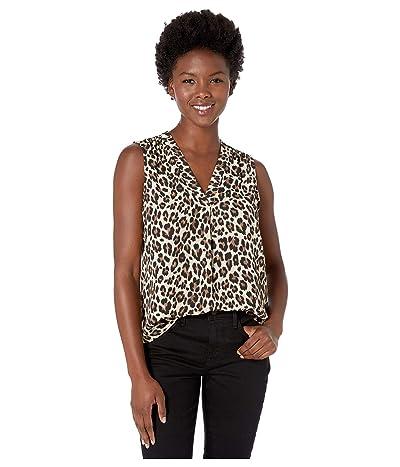 Vince Camuto Specialty Size Petite Sleeveless V-Neck Elegant Leopard Blouse (Rich Black) Women
