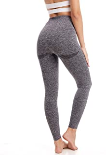 Aoxjox Women's Leggings High Waisted Gym Tummy Control Contour Seamless Workout Leggings