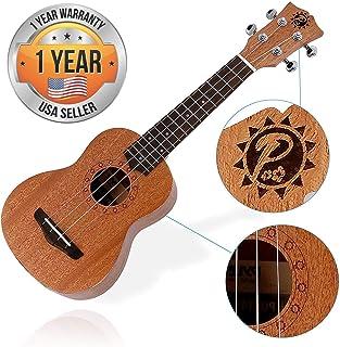 Solid Wood Mahogany Soprano Ukulele Professional Instrument with Solid Dark Brown Body & Neck, Black Walnut Fingerboard & Bridge - Pyle PUKT45