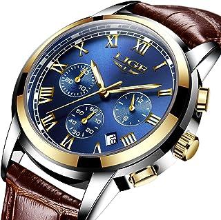 Men Leather Strap Military Watches Men's Chronograph Waterproof Sport Wrist Date Quartz Wristwatch Gifts (blue)