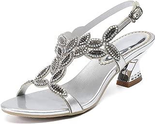 YooPrettyz Sparkle Ankle Strap Evening Sandal Rhinestones Chunky Summer Sandals Low Heels