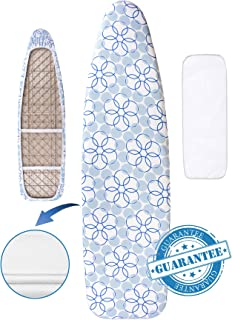 "Hansprou Scorch Resistance Ironing Board Cover and Pad Resists Scorching and Staining Ironing Board Cover with Heavy Duty Padded 2 Velcro Straps 15""X 54"""