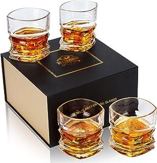 KANARS 4-teiliges Whisky Gläser Set, Bleifrei Kristall Whiskygläser, Spülmaschinentauglicher Whiskybecher, Hochwertige Qualität, 300ml, Luxus-Geschenkbox