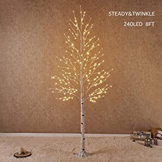 Hairui Pre Lit White Birch Tree 8FT 240L for Christmas Holiday Party Decorations Tree Plug in Indoor Outdoor Use