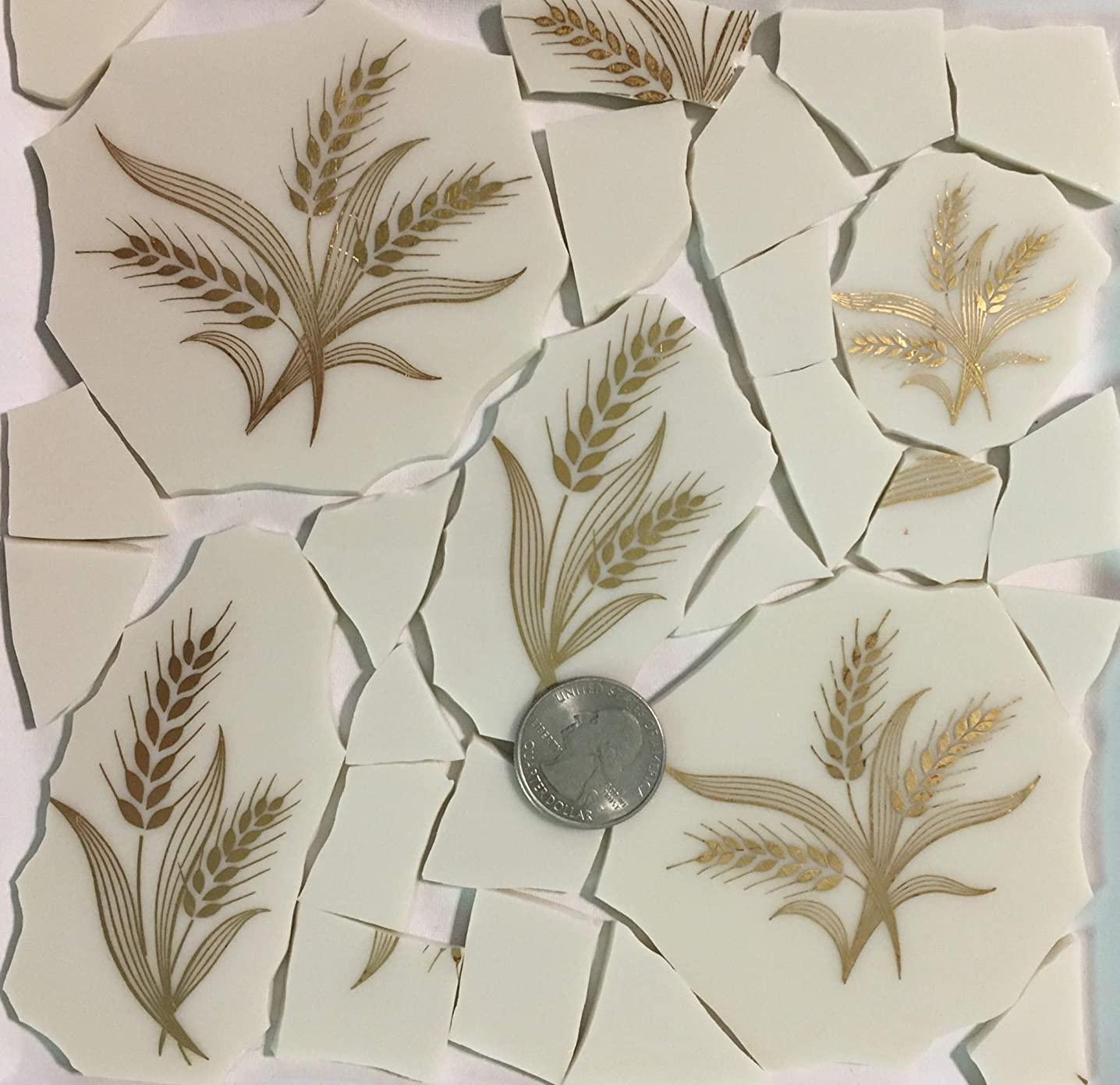 Mosaic Art & Crafts Supply ~ Metallic Gold Wheat Design Cream White China Tiles (B890)
