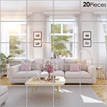 BBTO 20 Pieces Mirror Sheets Self Adhesive Non Glass Mirror Tiles Wall Sticky Mirror (8 x 10 Inch)