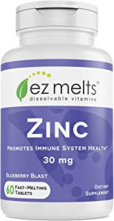 EZ Melts Zinc for Immune Support, 30 mg, Sublingual Vitamins, Vegan, Zero Sugar, Natural Blueberry Flavor, 60 Fast Dissolv...