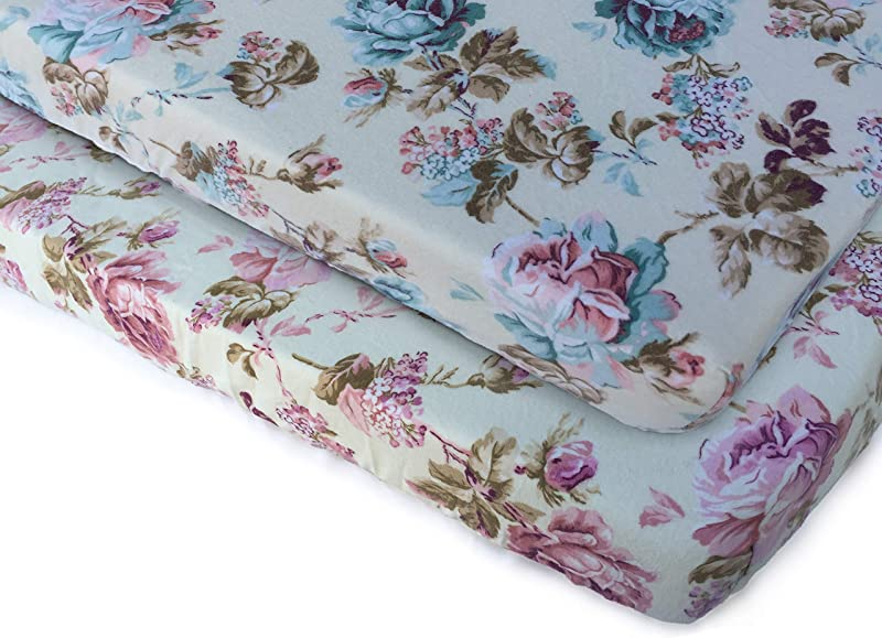 Pack N Play Playard Sheet Set 2 Pack 100 Premium Cotton Flannel Super Soft Fits Perfectly Any Standard Playard Mattress Up To 3 Thick Vintage Roses