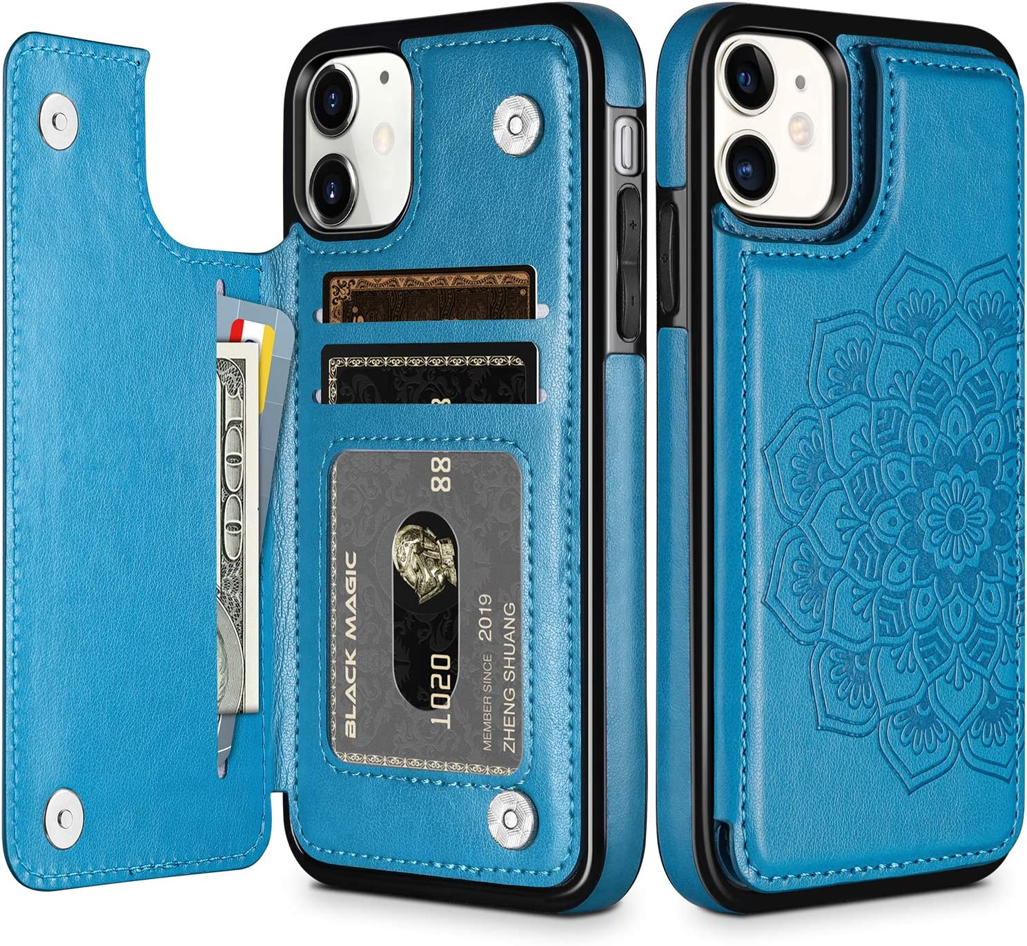 HianDier Wallet Case for iPhone 11 Slim Protective Case with Credit Card Slot Holder Flip Folio Soft PU Leather Magnetic Closure Cover for 2019 iPhone 11 iPhone XI, Mandala Blue