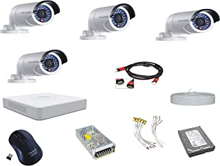 Hikvision Ultra HD 2MP Cameras Combo KIT 4 CH HD DVR, 4 Bullet Camera+ HDMI Cable ,Wire Less Mouse ,1 TB Hard Disk, Power ...