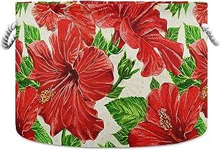 Okrągły kosz do przechowywania kosz czerwony lato kwiat składany wodoodporny kosz na pranie dla dzieci pokój dziecięcy org...