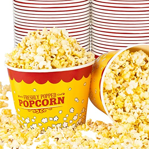 Stock Your Home 85 Oz Popcorn Buckets (25 Count) - Greaseproof Vintage Style Popcorn Tubs - Disposable Popcorn Contai...