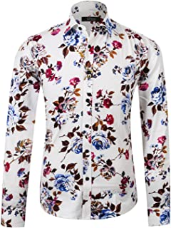APTRO Men's Flower Casual Button Down Long Sleeve Shirt