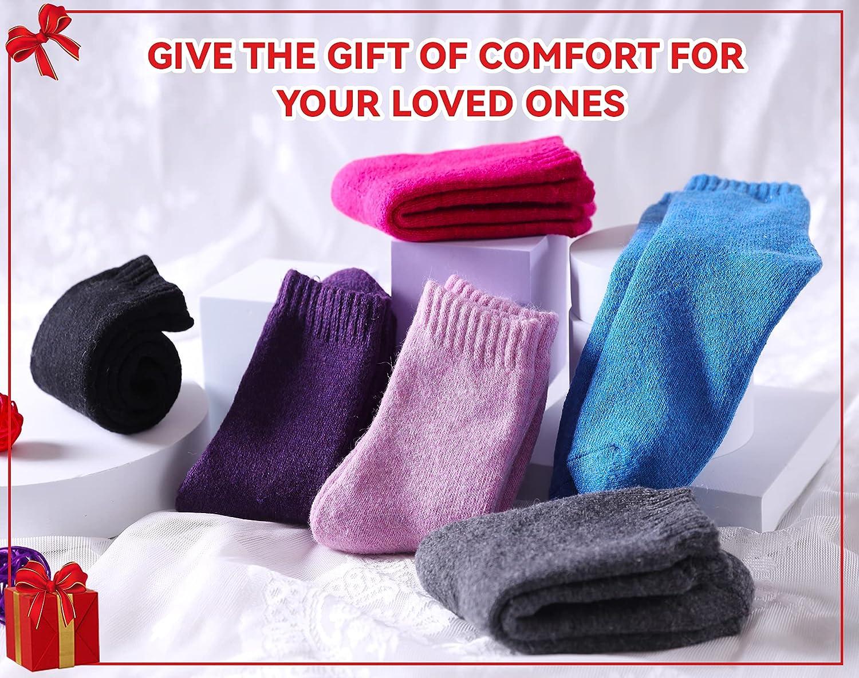 Children's Winter Warm Wool Solid Color Socks Kids Boy Girls Thermal Crew Socks 6 Pairs