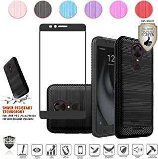 T-Mobile Coolpad Revvl Plus Case (2017 Version Only), with Full Edged Tempered Screen Protector, Metallic Brushed Design Slim Hybrid [Shockproof] Dual Layer Armor Hard TPU Defender Case (Black)