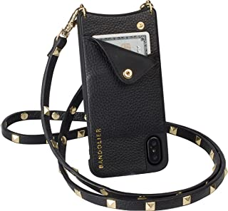 Bandolier Sarah Crossbody Phone Case and Wallet - Black Leather with Gold Detail - Compatible with iPhone X & XS Only
