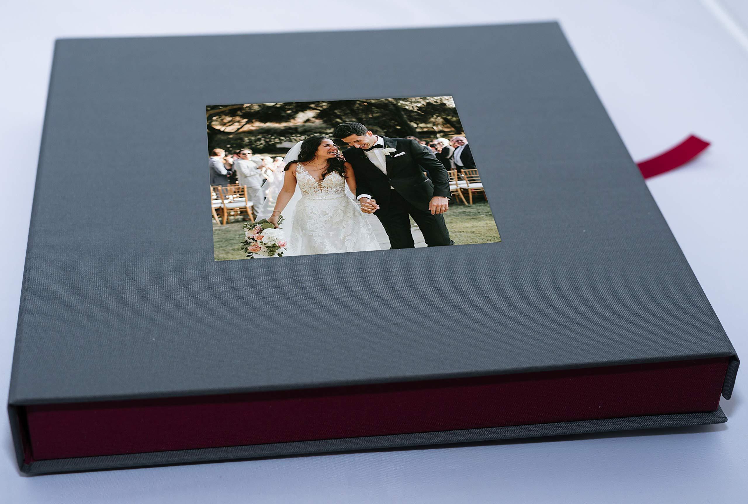 Caja Álbum Tela Gris Granate 28x28cm: Amazon.es: Hogar