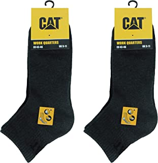 Caterpillar Quarter Socks 6 Pairs Men's Work Socks, Height Above the Ankle, Reinforced Toe and Heel, Cotton