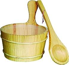 ALEKO WZ01 Pine Wood Sauna Bucket with Plastic Liner and Water Scoop