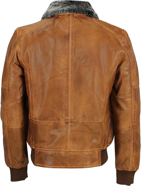 Spazeup Mens Vintage Bomber Fur Collar Retro Biker Real Leather Pilot Jacket
