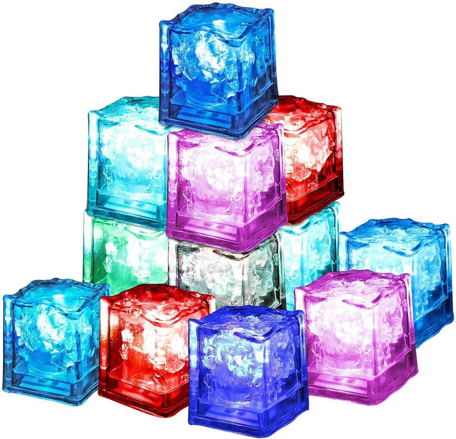 XLKJ 12 Pcs Cubitos de Hielo LED Colorido y Reutilizable Decorativo para Fiesta, Boda, Club y Bar ect