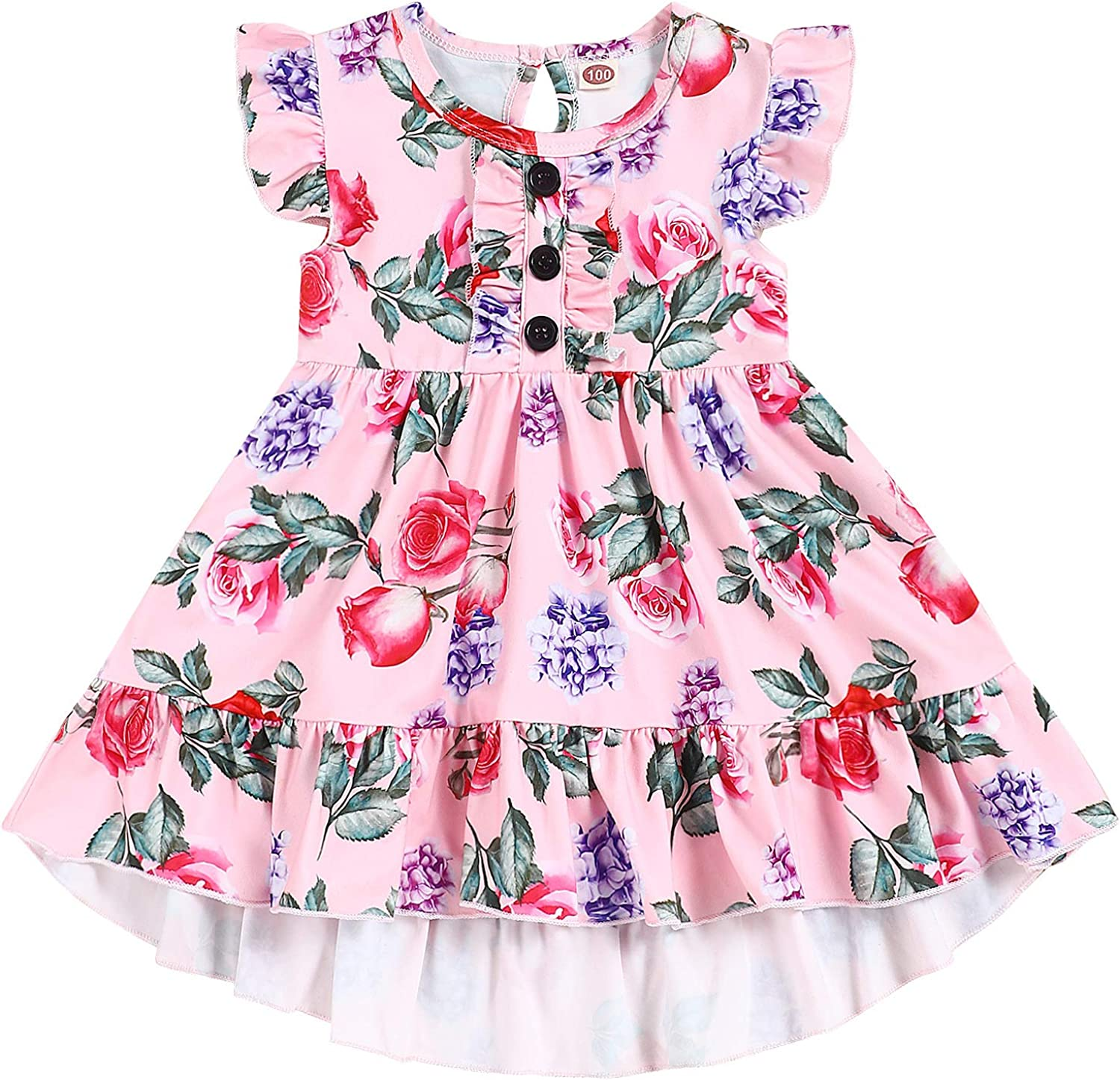 RCPATERN Toddler Kids Baby Boston Mall Girl Dresses Floral L Bargain sale Outfits Clothes