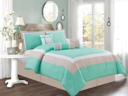 featured product 7 Piece QUEEN Size TURQUOISE BLUE / WHITE / GREY Color Block MILAN Goose Down Alternative Comforter set 90 X 90 Bedding + Accent Pillows