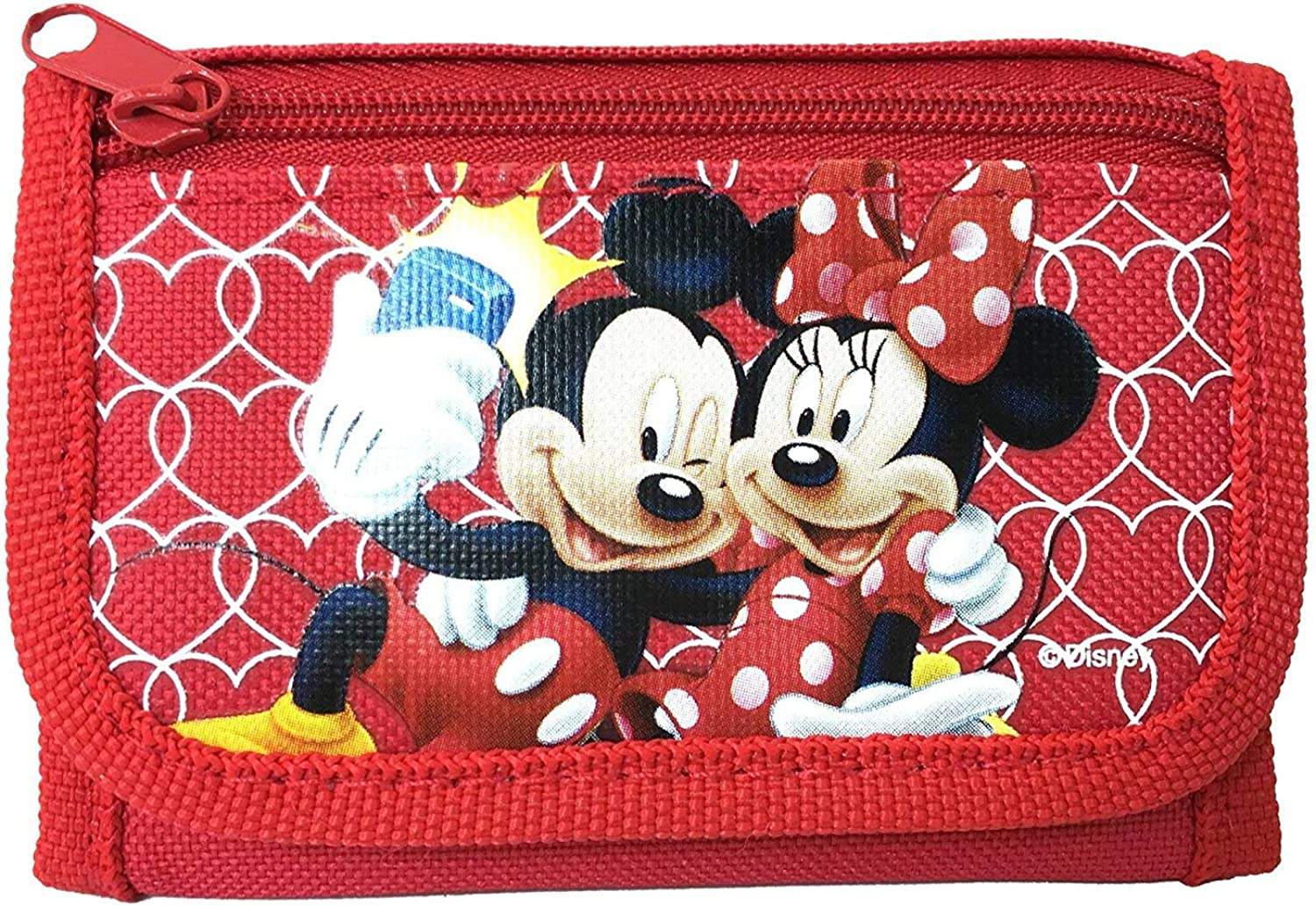 Disney Mickey Mouse Authentic Licensed Trifold Wallet (Red) : Clothing, Shoes & Jewelry