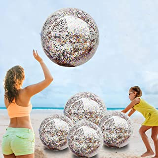 5 Pack Sequin Beach Ball Jumbo Pool Toys Balls Giant Confetti Glitter Inflatable Clear Beach Ball Swimming Pool Water Beach Toys Outdoor Summer Party Favors for Kids Adults (24