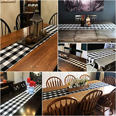 Syntus 14 x 72 inch Buffalo Check Table Runner Cotton-Polyester Blend Handmade Black and White Plaid for Family Dinner, Outdo