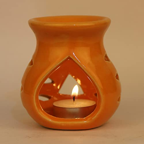 Pure Source India Ceramic Aroma Burner Clay Lamp,3 x4 (Orange)