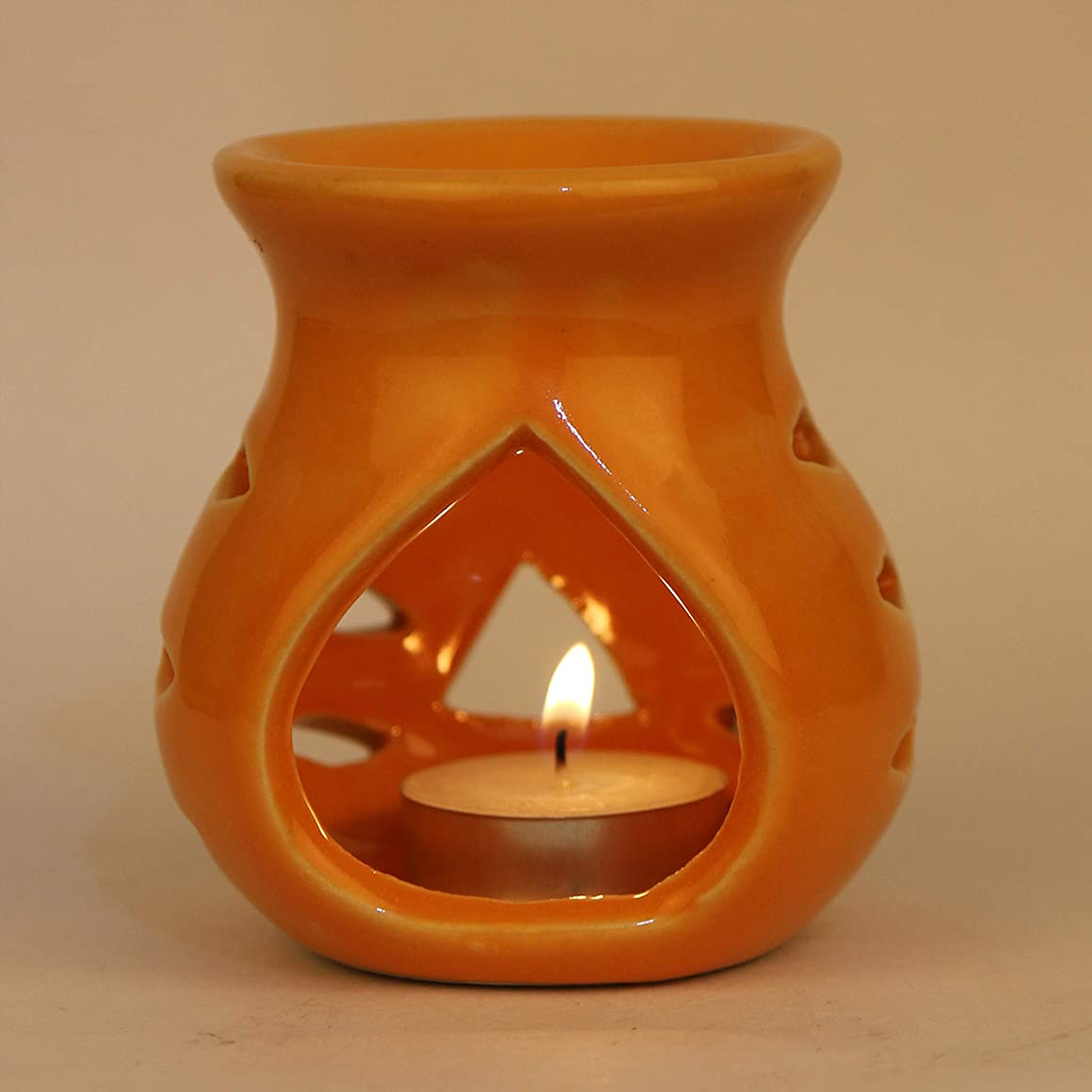 自慢台無しに達成可能Pure Source India. セラミックアロマバーナーオレンジカラープレミアムカラーオレンジ、このアロマのサイズは高さ3.5インチ、直径3.5インチです。 (クレイランプ)