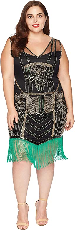 Plus Size Beaded & Fringe Henriette Flapper Dress