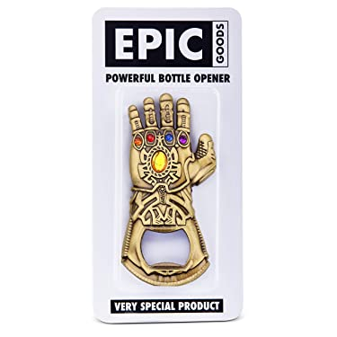 EPIC Goods Thanos Infinity Gauntlet Style Bottle Opener | Avengers Keychain, Novelty Marvel Adult Gifts for Beer Lovers, Bartenders, Comic Book Fans, Stocking Stuffer (Flat Bottle Opener)